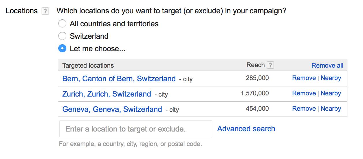 ciblage adwords par pays et ville en Suisse - Agence Google Adwords pour PME